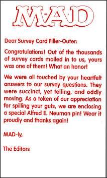 Survey Card MAD Magazine • USA