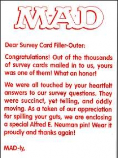 Go to Survey Card MAD Magazine • USA