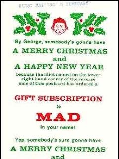 Subscription Card Christmas MAD Magazine • USA