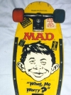 Image of Skateboard 'Nash' with MAD logo and Alfred Face, yellow