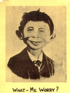 Go to Postcard Pre-MAD Alfred E. Neuman on Reverse side of a Ledger • USA