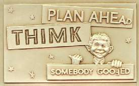 Plastic Vacuform Postcards with Alfred E. Neuman (Brown 'Thimk' Version) • USA