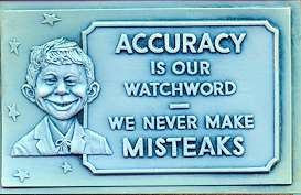 Plastic Vacuform Postcards with Alfred E. Neuman (Blue 'Accuracy' Version) • USA