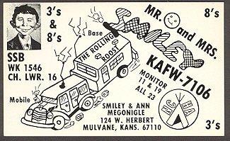 Postcard Pre-MAD Alfred E. Neuman Mr & Mrs Smiley (Ham Operator) • USA