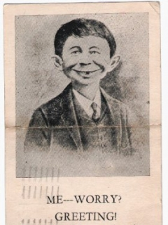 Go to Postcard Pre-MAD Alfred E. Neuman 'From One Mug to Another' • USA