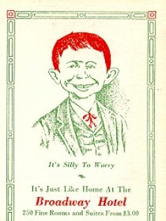 "Go to Postcard Pre-MAD Alfred E. Neuman ""Broadway Hotel Cincinnati"" • USA"