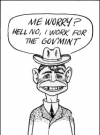 "Image of Postcard Pre-MAD Alfred E. Neuman ""I work for the Guv-Mint"" (b/w)"