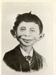 "Go to Postcard Pre-MAD Alfred E. Neuman b/w ""What me worry?"" • USA"