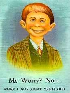 "Go to Postcard Pre-MAD Alfred E. Neuman b/w ""Me worry? No"" • USA"