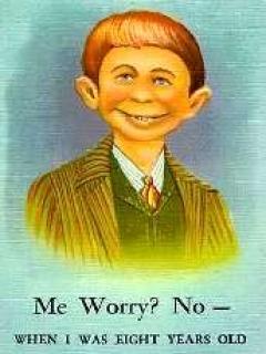 """Go to Postcard Pre-MAD Alfred E. Neuman b/w """"Me worry? No"""""""