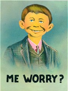 "Go to Postcard Pre-MAD Alfred E. Neuman ""Me worry?"" Normal Size • USA"