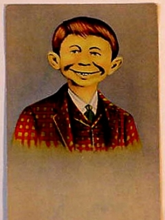 "Go to Postcard Pre-MAD Alfred E. Neuman ""Me worry?"" (Checkered Coat, No Advertising Text) • USA"