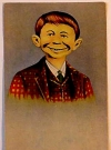 "Image of Postcard Pre-MAD Alfred E. Neuman ""Me worry?"" (Checkered Coat, No Advertising Text)"