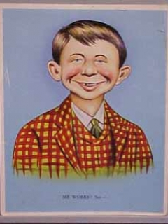 "Go to Postcard Pre-MAD Alfred E. Neuman ""Me worry?"" (Checkered Coat, Larger Image) • USA"