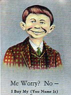 "Go to Postcard Pre-MAD Alfred E. Neuman ""Me worry?"" (Checkered Coat, with Advertising) • USA"