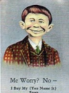 "Image of Postcard Pre-MAD Alfred E. Neuman ""Me worry?"" (Checkered Coat, with Advertising)"