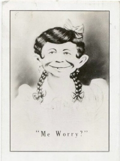 "Go to Postcard Pre-MAD Female Alfred E. Neuman ""Me worry?"""