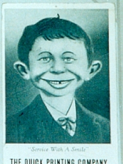 "Go to Postcard Pre-MAD Alfred E. Neuman ""Smile"" (Quick Printing Company) • USA"