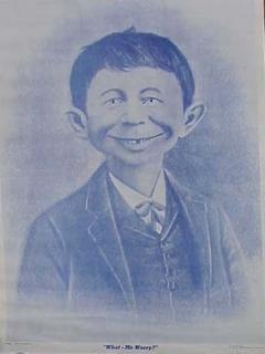 """Go to Postcard Pre-MAD Alfred E. Neuman """"Me Worry?"""" (Blue cast)"""