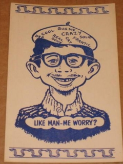 Go to Postcard Alfred E. Neuman Beatnik Like Man - Me Worry? (Blue) • USA