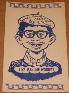 Go to Postcard Alfred E. Neuman Beatnik Like Man - Me Worry? (Blue)