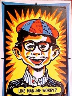 Go to Postcard Pre-MAD Alfred E. Neuman 'Like Man Me Worry?' Day Glow Colors • USA