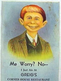 "Go to Postcard Pre-MAD Alfred E. Neuman ""Me worry?"" (Greigs Corner House Restaurant) • USA"