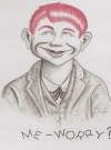 Image of Postcard Pre-MAD Alfred E. Neuman 'Me worry?' Red Hair