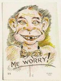 Go to Postcard Pre-MAD Alfred E. Neuman 'Me Worry?' Elmer Anderson • USA