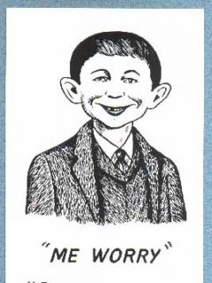 Go to Postcard Alfred E. Neuman 'Me worry?'