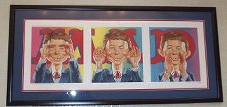 Portrait framed Alfred E. Neuman 'See no, speak no, hear no' Evil • USA