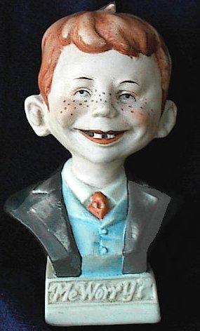 Bust Porcelain Alfred E. Neuman Hand Painted • USA