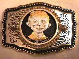 Belt Buckle with 24K Gold Coin Alfred E. Neuman Face • USA