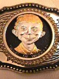 Go to Belt Buckle with 24K Gold Coin Alfred E. Neuman Face • USA
