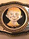 Image of Belt Buckle with 24K Gold Coin Alfred E. Neuman Face