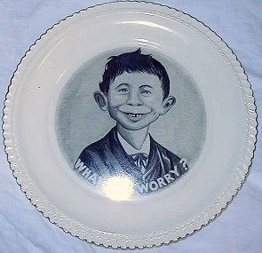 Plate with Pre-MAD Alfred E. Neuman 'What Me Worry' • USA