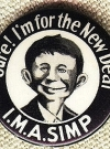 Image of Pinback Button Pre-MAD Alfred E. Neuman I.M.A. SIMP