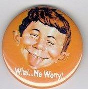 Button 'What Me Worry', orange • USA
