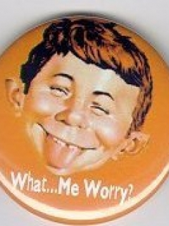 Button 'What Me Worry', orange • USA
