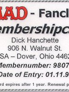 MAD FAN CLUB CARD