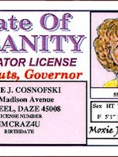 Go to Drivers License Female Alfred E. Neuman 'State of Insanity'