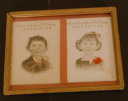 Birthday Cards Pre-MAD Alfred E. Neuman & Girl Friend • USA