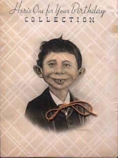 Go to Birthday Card Pre-MAD Alfred E. Neuman (String Tie) • USA
