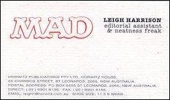 "Business Card ""Leigh Harrison"" • Australia"