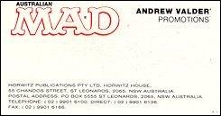 """Business Card """"Andrew Valder"""" • Australia"""