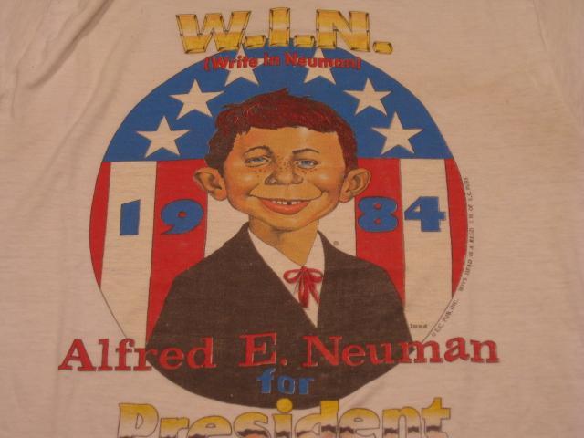 T-Shirt Campaign Kit 'Alfred E. Neuman for President', Blue Ringer Version • USA