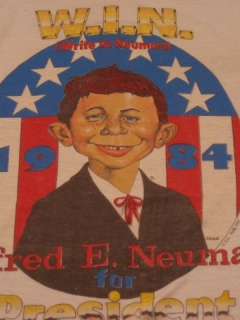 Go to T-Shirt Campaign Kit 'Alfred E. Neuman for President', Blue Ringer Version