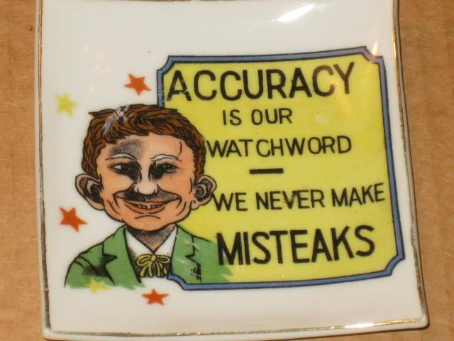 "Ashtray Pre-MAD Alfred E. Neuman ""We Never Make Misteaks"" • USA"