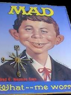 Go to Wall Clock on Poster 'Alfred E. Neuman says What Me Worry?' • USA
