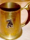 Image of Beer Stein 'Spy vs Spy' Brass Tankard Mug with Wooden Handle